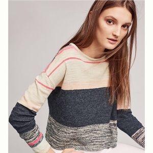 Moth Samedi Colorblock Boxy Sweater Pink Blue Sz S